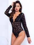 Lace Deep V Neck Sheer Backless Bodysuit